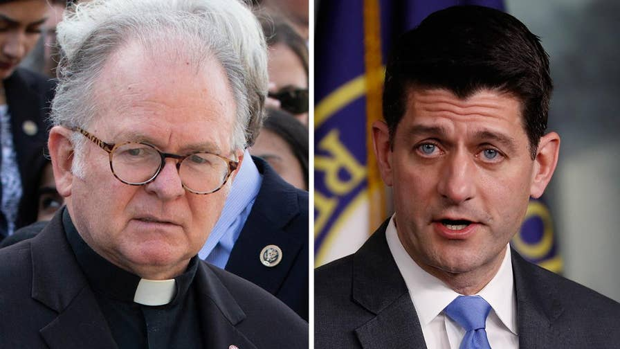 In a 2-page letter to House Speaker Paul Ryan, the embattled chaplain of the House of Representatives accuses Ryan's staff of forcing him out; Ellison Barber reports from Washington.