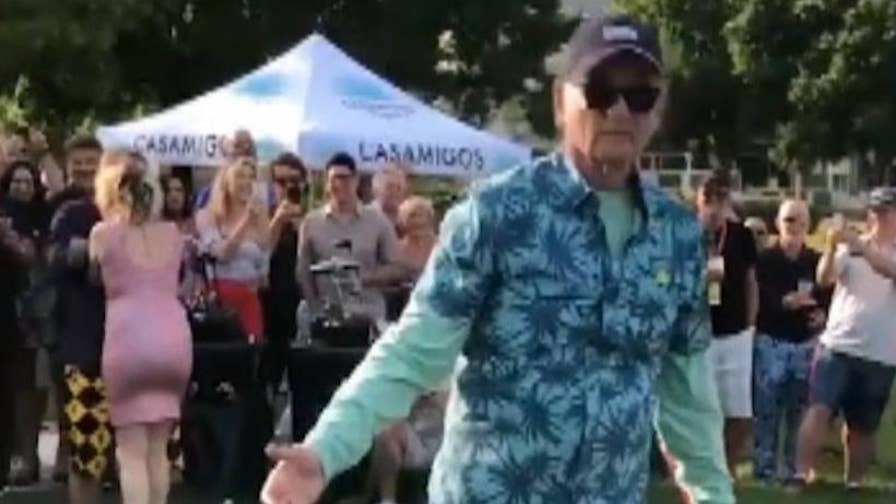 Bill Murray participates in couple's gender reveal at the 17th annual Murray Bros. Caddyshack Charity Golf Tournament.