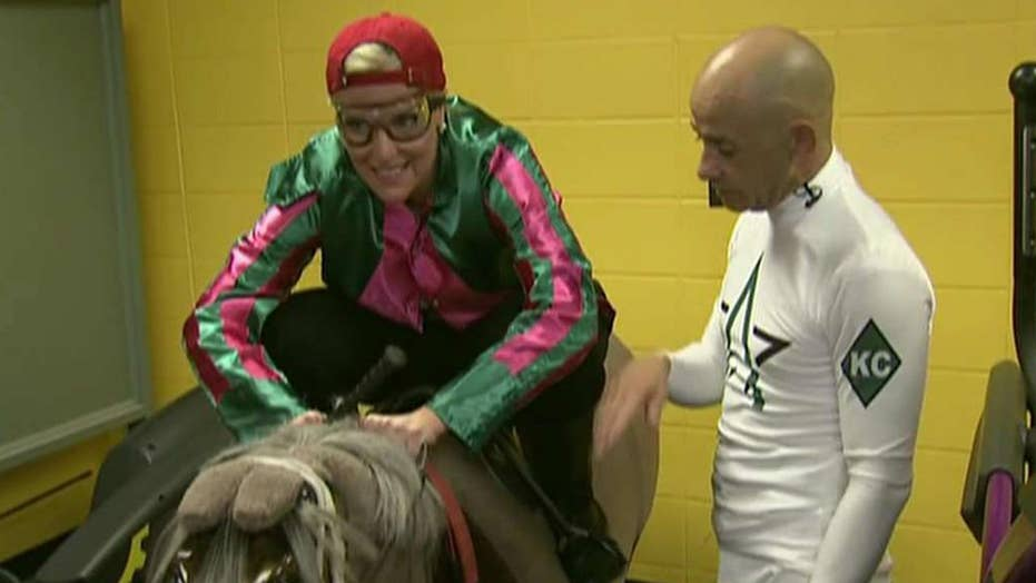 Janice Dean gets horse riding lesson at the Kentucky Derby