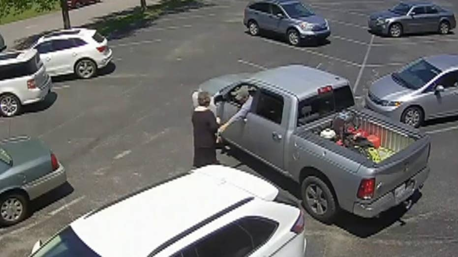 Raw video: Elderly woman robbed while leaving church
