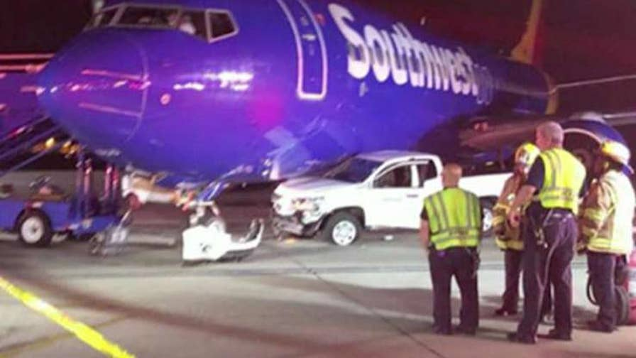A ground vehicle at Baltimore-Washington International Thurgood Marshall Airport collided with a Southwest Airlines aircraft early on Monday morning.