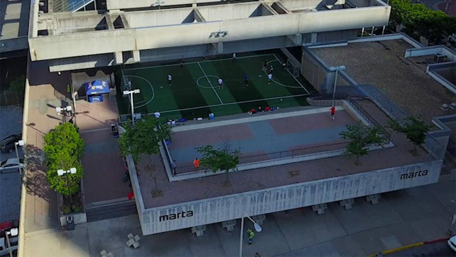 On top of Atlanta's busiest subway station sits a five-a-side soccer pitch with the goal of exposing the sport to underserved communities.