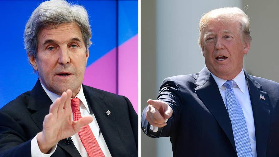 The former secretary of state is meeting with officials from Iran, Germany, France and the European Union to hold together the Iran nuclear deal; Rich Edson reports from the State Department.