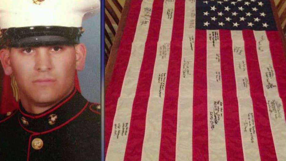 Fallen Marine's American flag stolen