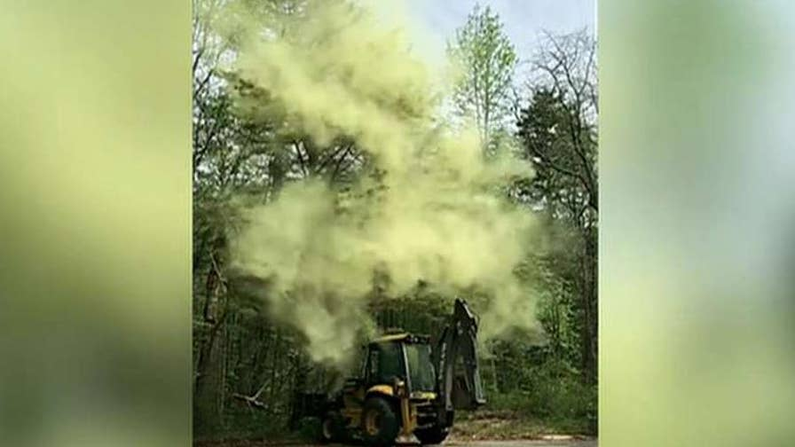 Massive pollen storm caught on camera in Millville, New Jersey.