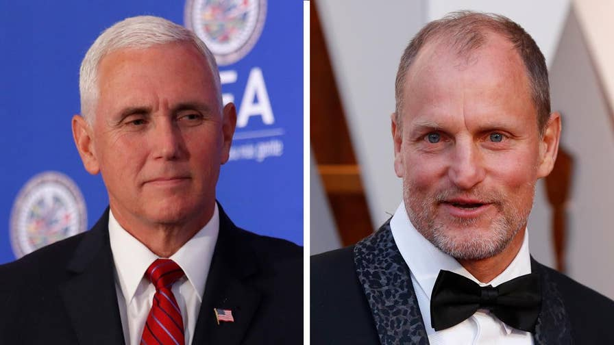 Woody Harrelson has opened up about his connection to Vice President Mike Pence. Harrelson spoke about his former Hanover College classmate on 'Jimmy Kimmel Live!' saying he 'actually quite liked him.'