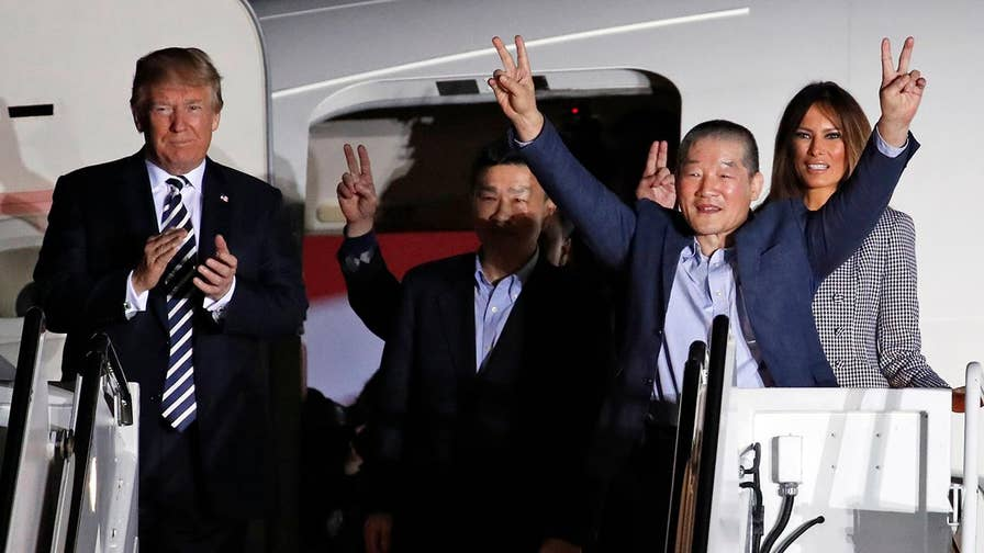 President Trump welcomes Americans freed by North Korea.
