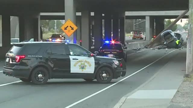 California car crash snaps utility pole in half