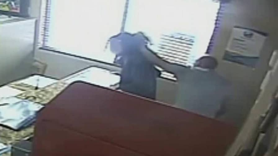Security camera footage captures a Florida police officer physically assaulting his daughter as school employees look on.