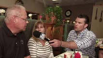 Pete Hegseth chats with diners in Butler, Pennsylvania.