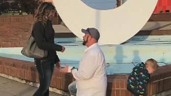 Kevin Przytula's proposal to his girlfriend Allyssa Anter had been working on potty training young Owen, who stole the show during the proposal.