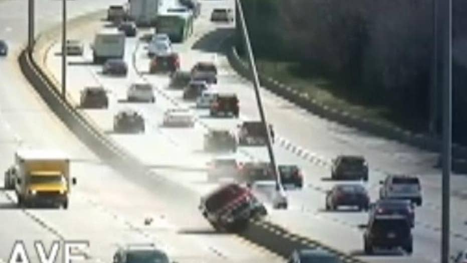 Shocking video: Suspected drunk driver mows down light poles