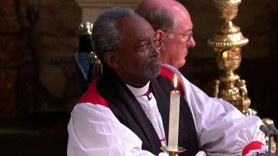 U.S. episcopal leader addresses celebrants on the healing power of love in St. George's Chapel in Windsor, England.