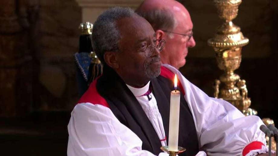 U.S. episcopal leader addresses celebrants on the healing power of love in St. George's Chapel in Windsor, England.