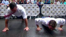 Adam and Pete continue their pushup rivalry on the 'Fox & Friends' plaza.