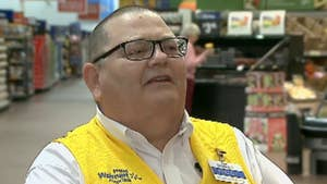 Chadron, Ohio Walmart greeter sings to veterans that visit the store.