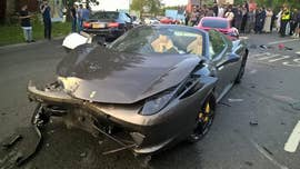 Police in the U.K. are searching for the driver of a $250,000 Ferrari who abandoned the car after a massive accident.