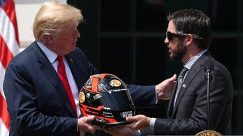 President hosts the NASCAR Cup Series champion Martin Truex Jr. and his team on the South Lawn of the White House.