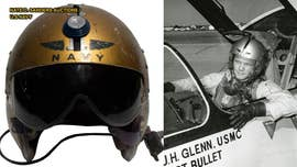A U.S. Navy helmet worn by John Glenn during a record-breaking supersonic flight, will be auctioned in Los Angeles next week.