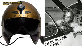A U.S. Navy helmet worn by John Glenn during his record-breaking supersonic flight, dubbed Project Bullet, will be auctioned in Los Angeles next week. Glenn, one of America's most famous astronauts, was a Marine Corps major when he took part in the historic flight on July 16, 1957.