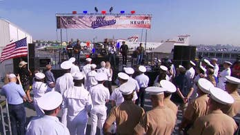 After the Show Show: Country star performs on the deck of the USS Intrepid.