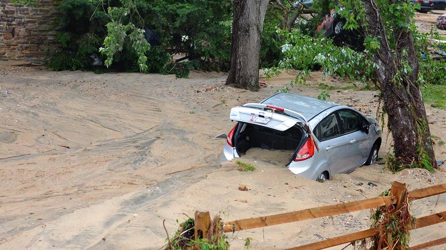 For the second time in less than two years, catastrophic floodwaters sweep from Ellicott City, Maryland; Rich Edson reports.