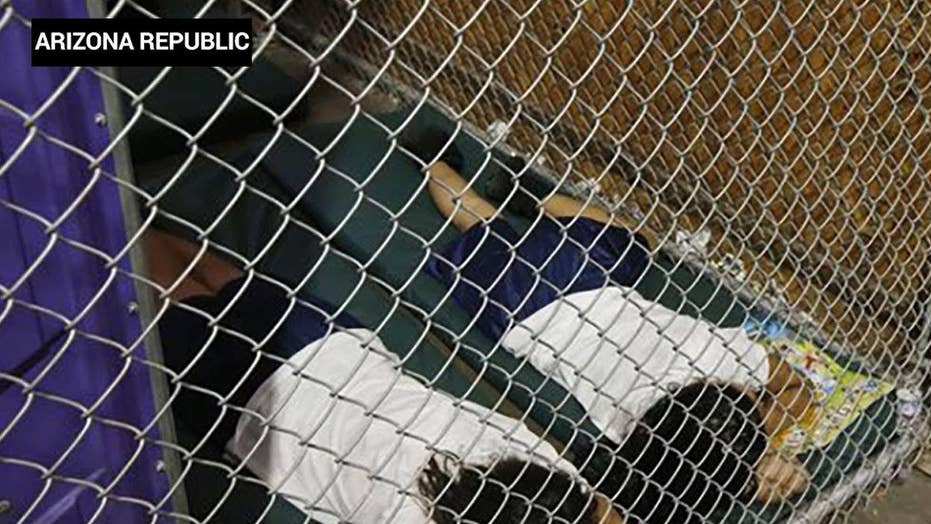 Trump slams Dems after viral photo of children in cages, from ...