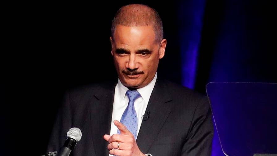 Former AG Eric Holder speaking at the 'Politics and Eggs' event at the New Hampshire Institute of Politics, further fueling speculation he's planning a 2020 White House run; Peter Doocy reports.