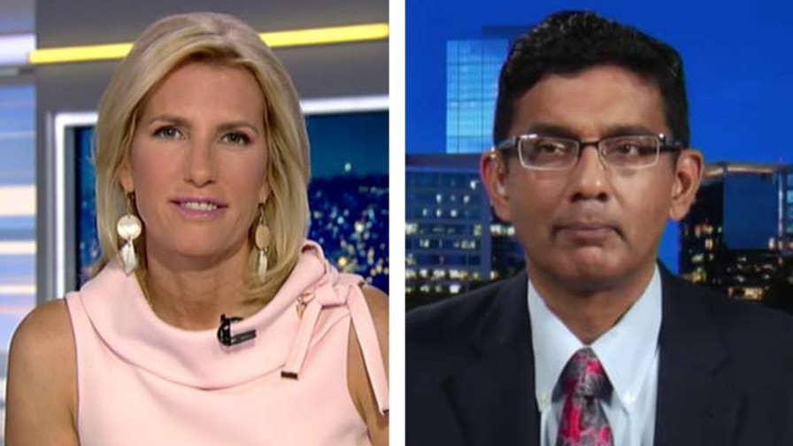 Conservative filmmaker Dinesh D'Souza reacts on 'The Ingraham Angle' after receiving a presidential pardon from Trump.