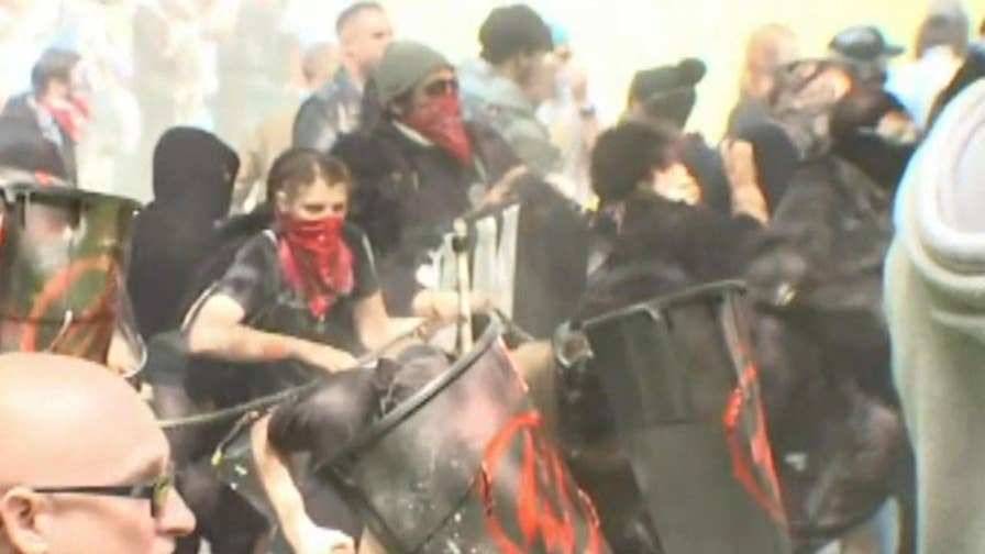 Bloody violence breaks out as Antifa activists stormed a Porland, Oregon rally by right-wing group Patriot Prayer.