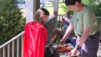 Neighbors around Meridan Park, Indiana rolled out all the decorations and stocked up on candy and sweets for 5-year-old Aurelia Gwaltney, who has been fighting brain cancer for most of her life.