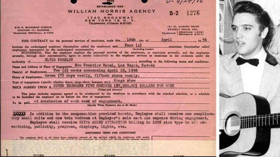 An iconic piece of music and Las Vegas history is up for auction: Elvis Presley's first contract