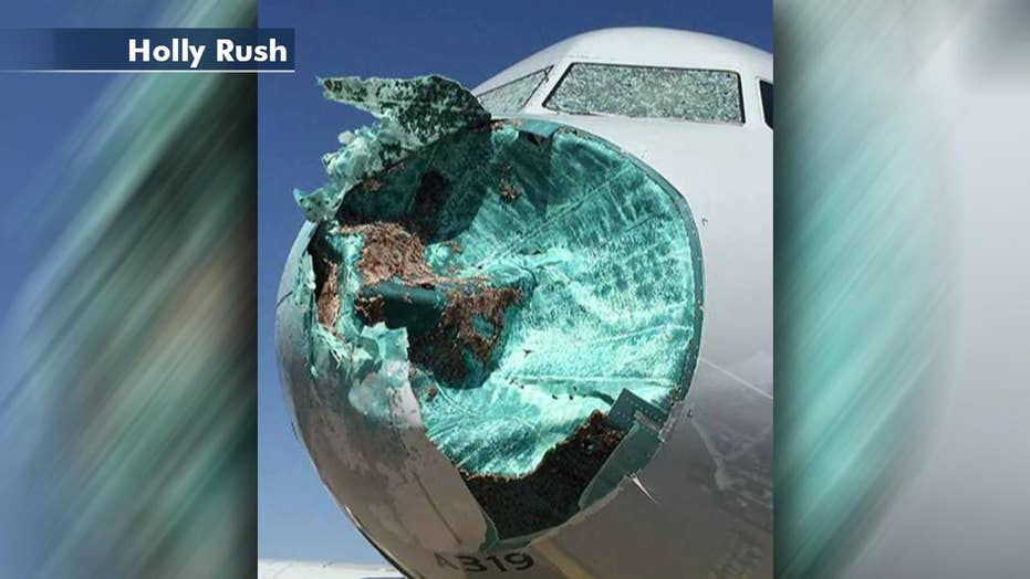 Dramatic new pictures of plane damaged in hail storm