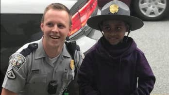 Six-year-old Lamar Richardson decided he wanted to be a police officer after meeting the trooper.