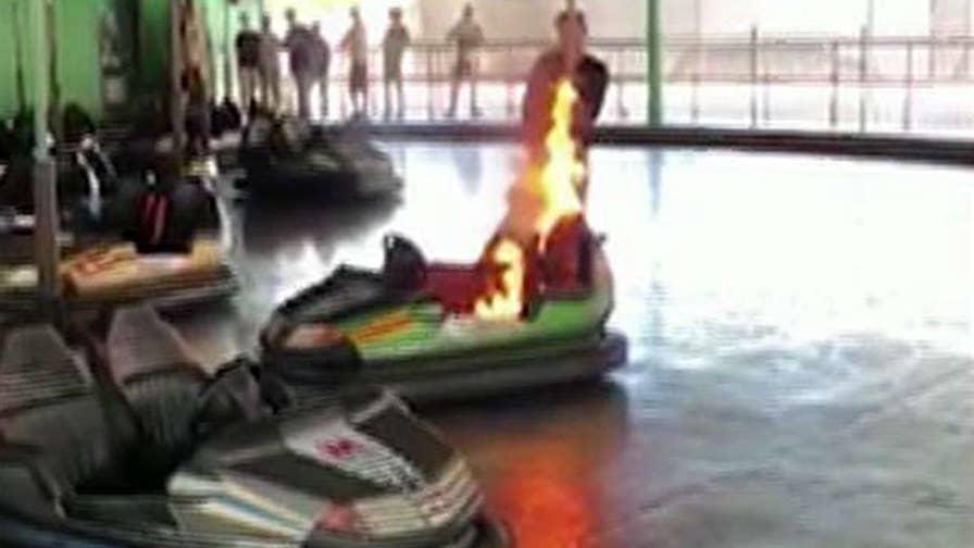 A bumper car suddenly caught on fire at Charlotte's Carowinds amusement park on June 4.