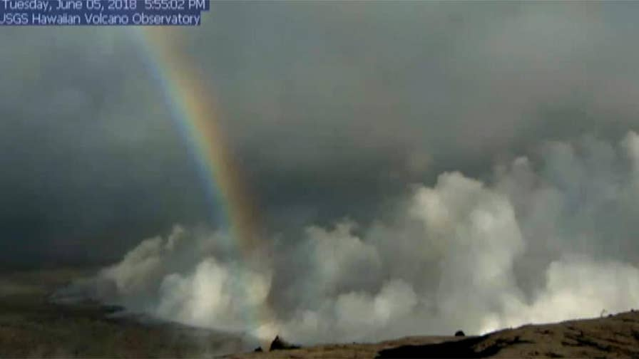 Raw video: Rainbow appears on U.S. Geological Survey live stream of the Halema'uma'u Crater at Kilauea Volcano in Hawaii.