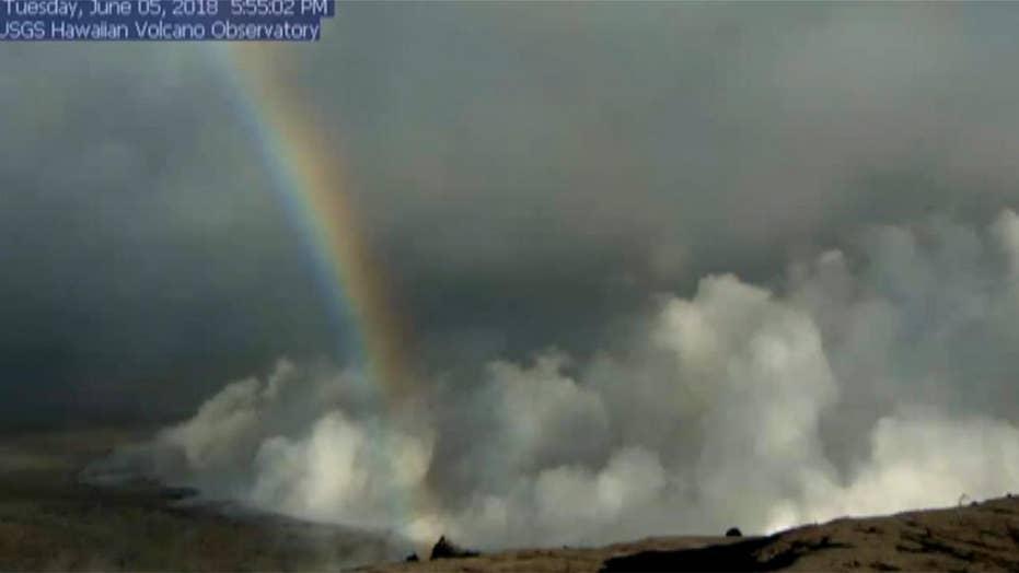 Rainbow spotted on Kilauea Volcano livestream