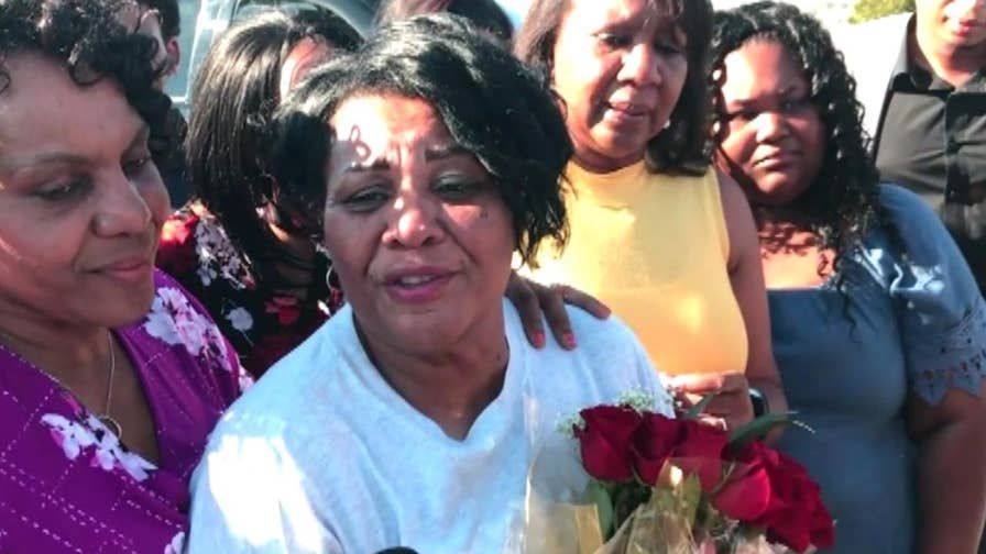 Raw video: Alice Johnson is released from prison after Trump commutes her life sentence.