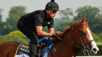 The stakes are high in New York as Justify, the horse that has already won the Kentucky Derby and Preakness, has a shot at history; Bryan Llenas reports from the 150th running of the Belmont Stakes.
