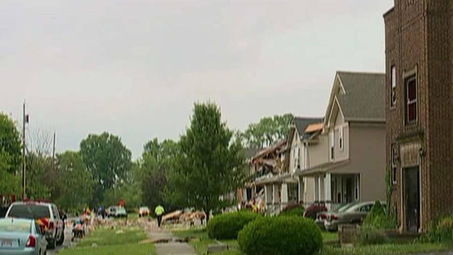 A blast leveled a home in Cleveland, according to officials.
