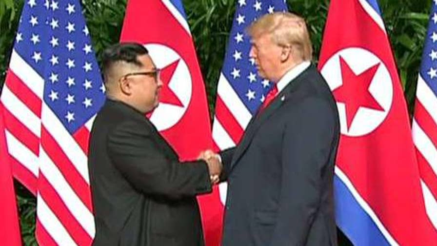 President Trump makes remarks at the summit with Kim Jong Un.