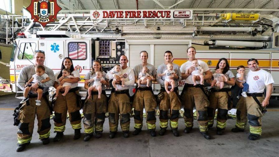 A Florida fire station welcomed nine babies to its family over the last 10 months. The three moms and six dads of the Davie Fire Rescue stood side-by-side in their gear with their babies in a touching photoshoot.
