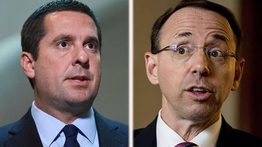 In a letter to Deputy AG Rod Rosenstein, Nunes warned that failure to handover information would be 'obstruction' of a congressional probe; chief intelligence correspondent Catherine Herridge reports.