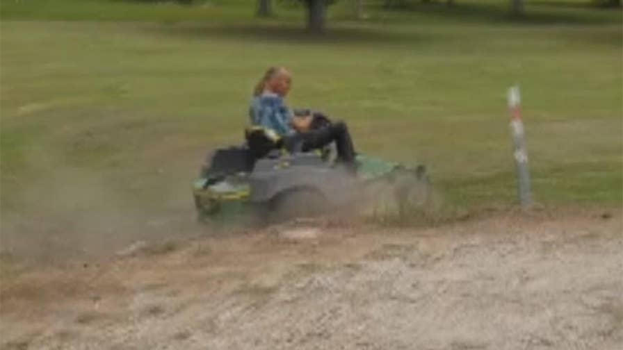 Texas man faces felony charges after he allegedly used his John Deere lawnmower as a weapon and injured a nine-year-old girl and her mother.