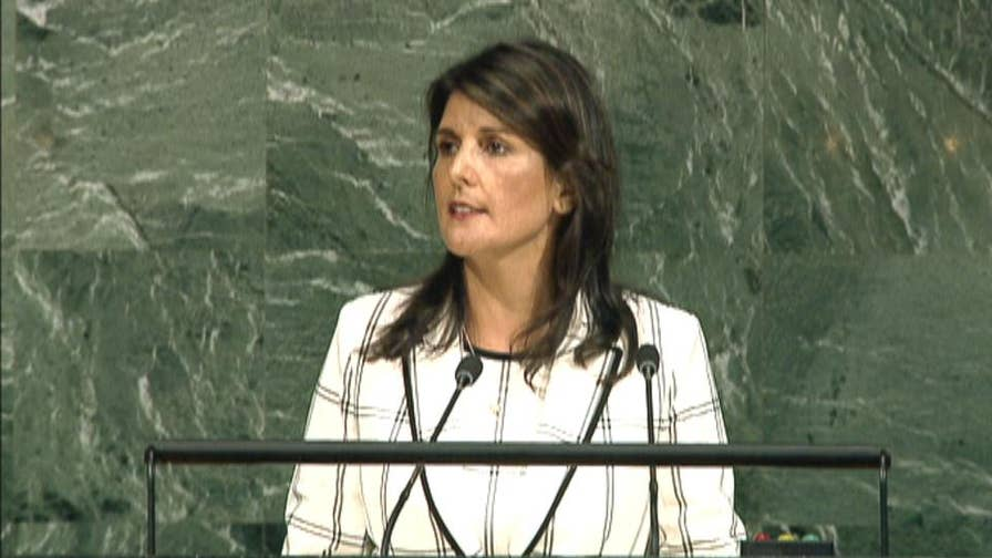 United States ambassador to the UN speaks at the 72nd session of the United Nations General Assembly.
