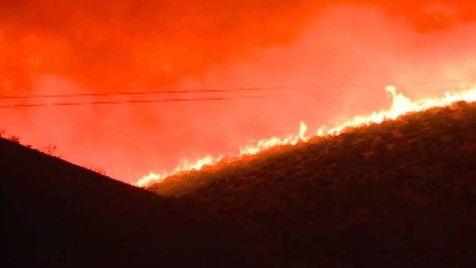 Raw video: Fire burns hillside above Carson City, Nevada