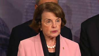 Senator Dianne Feinstein speaks at news conference by Democratic party leaders on Inspector General's report on Clinton email probe.