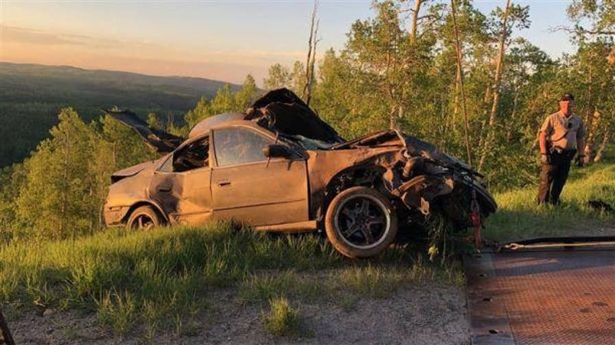 Seven Utah teens are recuperating in a hospital after the car they were riding in drove off of a mountain highway and ended up in a tree 180 feet below.
