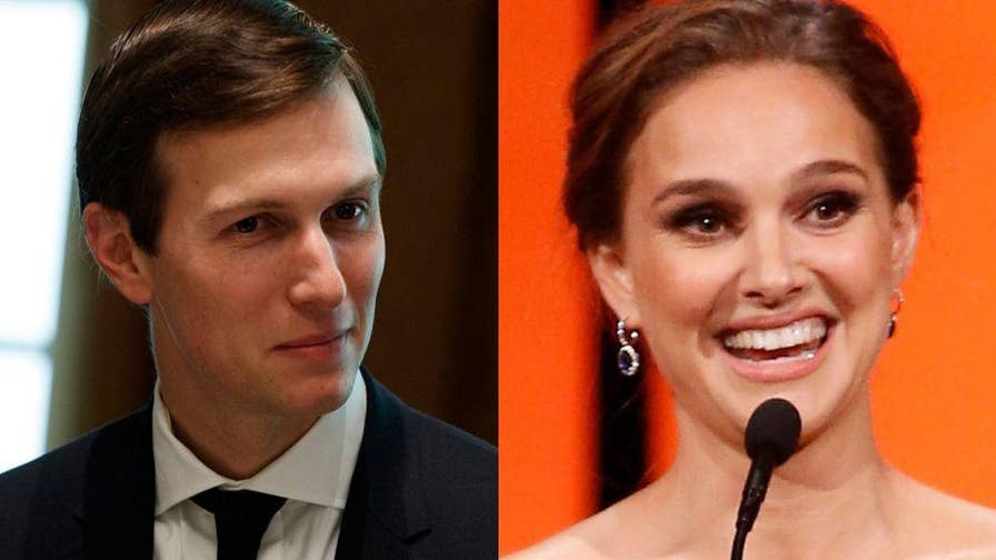 """Actress Natalie Portman appeared on """"The Late Show with Stephen Colbert"""" and slammed her former Harvard classmate Jared Kushner."""