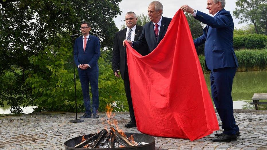 Czech president calls news conference to burn huge underwear